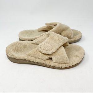 VIONIC Women's 26RELAX OrthoHeel Terry Cloth Nude Beige Slide Slipper